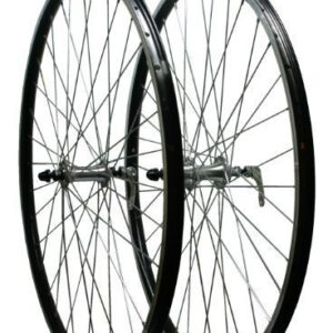 700c-hybrid-Bicycle-Quick-Release-Double-Walled-Screw-On-Alloy-Hubs-QR-Wheels-Pair-in-Black-0