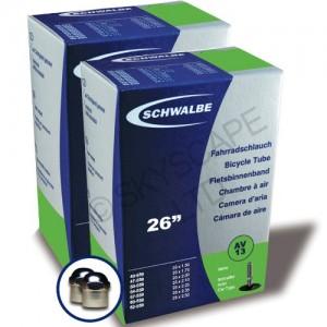 2-x-PREMIUM-QUALITY-Schwalbe-Inner-Tubes-26-x-150-to-250-150-175-190-195-200-21-2125-25-235-250-Schrader-Valve-PAIR-No-AV-13-FREE-Valve-Cap-Upgrade-Worth-199-0