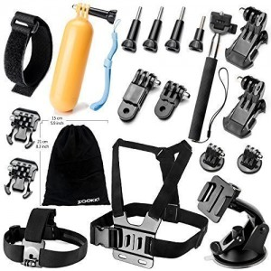 Zookki-Accessories-Bundle-Kit-for-GoPro-Hero-4-3-3-2-1-Black-Silver-Accessory-Kit-for-GoPro-4-3-3-2-1-and-SJ4000-SJ5000-SJ6000-Sports-Camera-Accessory-Set-in-Parachuting-Swimming-Rowing-Surfing-Skiing-0