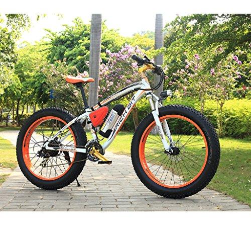 Eletric Bike Mountain Bike Cruiser Bike Hybrid Bike Mens Bike White Orange Beach Fat Tire