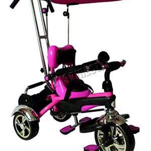 FoxHunter-Kids-Child-Children-Kids-Trike-Tricycle-3-Wheel-4-In-1-Bike-Ride-On-Parent-Handle-Rose-FHBT001-New-0