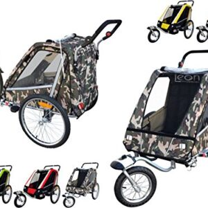 Leon-Paplioshop-Folding-Bicycle-Trailer-Stroller-with-Front-Wheel-for-1-or-2-Children-One-door-0