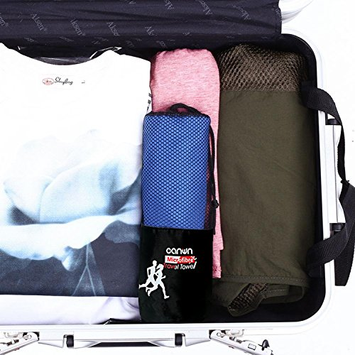[Set 2 Pack] Microfiber Towel With Carry Bag, CANWN