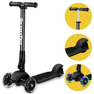 3-Wheel-scooterBanne-Height-Adjustable-Foldable-Assemble-Free-Smooth-Riding-Lean-to-Steer-Kick-Scooter-With-Flashing-PU-Wheel-Supports-176-lb-WeightBlack-0