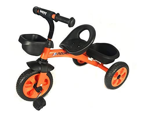 Kids 3 Wheel Pedal Trike In Orange With Front And Rear